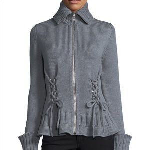 Alexander McQueen Chunky Lace-Up Gray Sweater XL